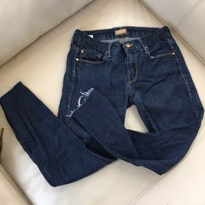 Mother the looked crop dark wash jeans 25